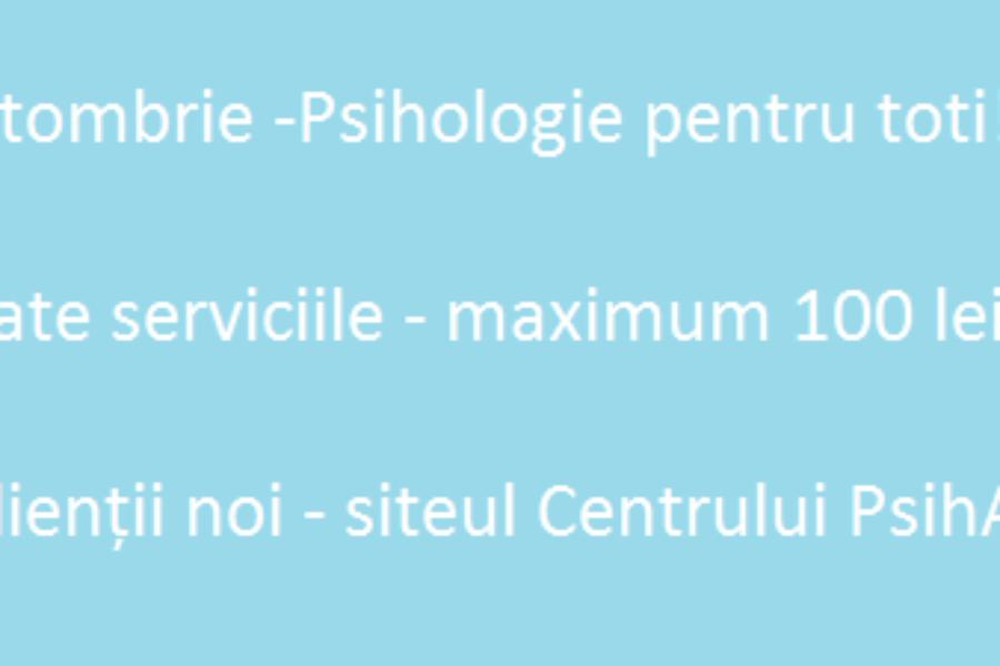 Luna octombrie – Psihologie pentru toti!